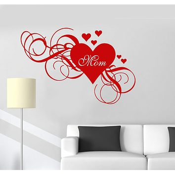 Wall Vinyl Decal Mum Heart Love Mothers Day Family Decor Mom Stickers Unique Gift (ig3068)