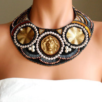 Diana's Companion - Large Statement Collar Necklace, Bead Embroidered, Geometric in Black and Neutral Colored Glass, Roman Lion