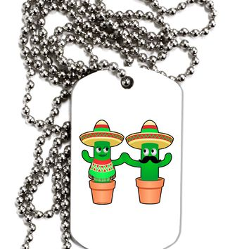 Fiesta Cactus Couple Adult Dog Tag Chain Necklace by TooLoud