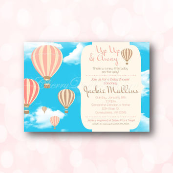 Hot Air Balloon Baby Girl Shower Digital Printable Invitation.  It's a girl baby shower invite.  Up Up and Away Invitation. DIY Invite
