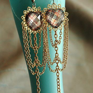 Gilded Heart Earrings Plaid Jewels with by bionicunicorn on Etsy