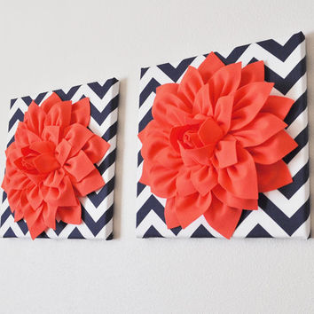 "TWO Wall Flower -Coral Dahlia on Navy and White Chevron 12 x12"" Canvas Wall Art- Flower Wall Art"