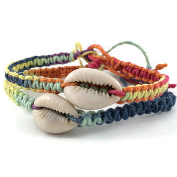 Real Seashell Anklet/ Bracelet/ Color Change Hemp Anklet with Cowrie Seashell/ Color Change Hemp Anklet/Bracelet/ Real Seashell Jewelry