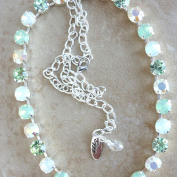 Swarovski crystal necklace, mint and opal, not sabika but just as sparkly, GREAT PRICE