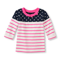 Toddler Girls Elbow Sleeve Contrast Panel Bow Knit Top | The Children's Place