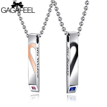 GAGAFEEL Lettering Couple Heart Necklace For Lover A Pair Her Beauty Wisdom Necklace Man Women Valentine's Day Necklaces Gift