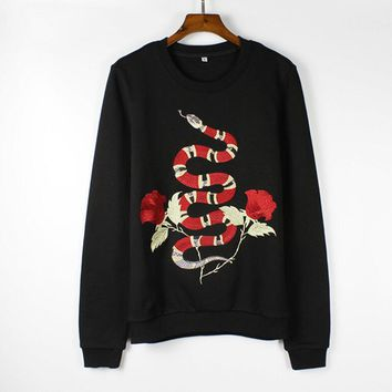 Embroider snake cotton round neck long-sleeved sweater street women