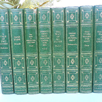 1946 1952 1st Edition Books World Famous Classics Forest Green