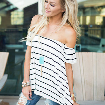 My Love Off the Shoulder Striped Top