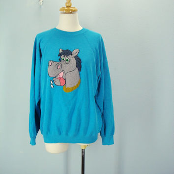 70s novelty horse sweatshirt tufted pattern sky blue