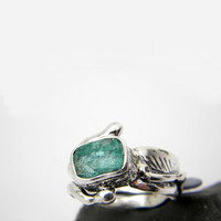 Abstract apatite ring sterling silver rough gemstone modernist artisan ring size 7.5, apatite jewelry, statement ring, neon blue apatite