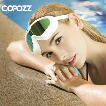 COPOZZ One-piece Swimming Goggles Whole Shaped Lens Comfortable Silicone Large Frame Swimming Glasses for Men Women Adult