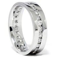 Mens 6MM 1.25CT Real Diamond Channel Set Eternity Ring Wedding Band Anniversary