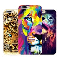 Lovely Panther Strong Lion Animal Design Shell pattern cases cover phone soft Tpu Cover for Apple iphone 7 case 4.7 inch