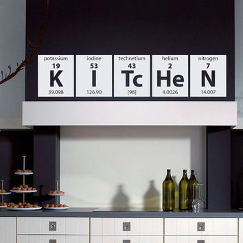 Wall Decals Periodic Table Elements Lettering Home Decor for Kitchen M009