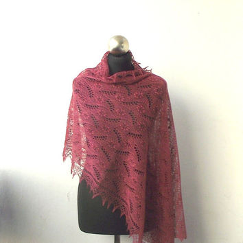 Antique Rose hand knitted  lace stole with nupps, knitted lace shawl SUMMER SALE15%OFF