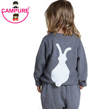 Spring New Arrival Casual Knitted Cute Bunny Baby Girls Sweater 1-5Y Kids Rabbit Pattern Clothes Baby Sweater Girls Sweater