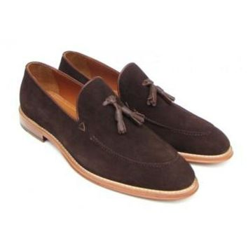 ac NOVQ2A Paul Parkman Men's Tassel Loafer Brown Suede Shoes