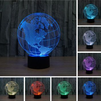 new 2017 3D LED lava Lampara Earth Globe Map Night Light Bedroom Table RGB Colorful Lamp Child RC Toy Halloween Xmas Gift