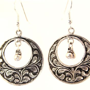 Handmade Sterling Silver Indian Carved Hoop Earrings