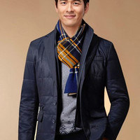 Zippered Sleeve Button Breast Pocket Wadded Coat