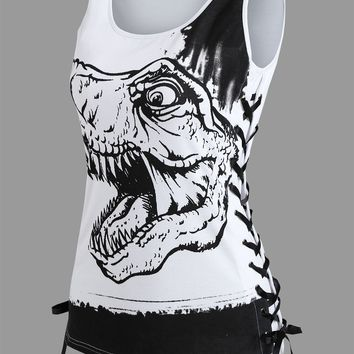 Dinosaur Lace Up Tank Top