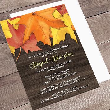 autumn bridal shower invitations rustic fall leaves brown wood