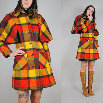 70's plaid WOOL Cape sleeve Coat