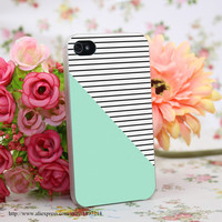 978955Y Mint And Stripes Hard Transparent Cover Case for iphone 4 4s 5 5s 6 6s Clear Cell Phone Cases