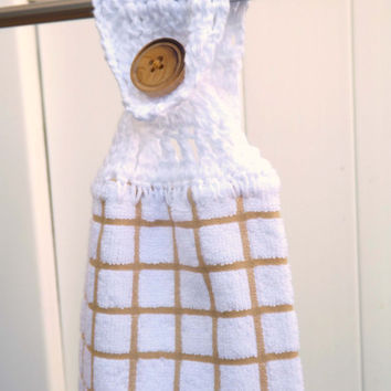 Kitchen Towel - White Towel with Tan Checks - Kitchen Hand Towel - Country Chic - Vintage Inspired - Grandma's Towel - Crochet Top Towel