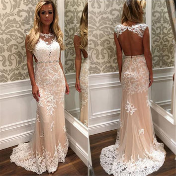 Champagne White Appliques Lace Mermaid Prom Dress Sexy Backless Beaded Lace Long Evening Party Dresses Cheap Evening Prom Gowns