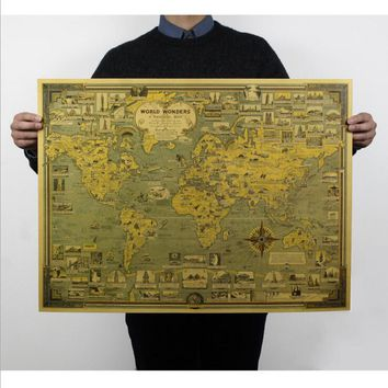 [H056] of the world's architectural wonders Landmarks Map nostalgic retro vintage kraft paper poster 51.5x68cm