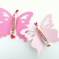 "15 Giant Die Cut Pink Butterflies, Extra Large Paper Butterfly, Fairy Party Decor, Butterfly Party,  (4 3/8 x 3 3/4"")"