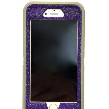 iPhone 6 (4.7 inch)Glitter OtterBox Defender Series Case / Sparkly Bling Custom Case  gray / purple.