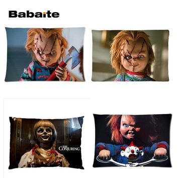 Babaite High Quality Annabelle The Doll Angry Chucky Rectangle Throw Pillowcase Twin Sides Luxury Printing Bedding Sets Gift