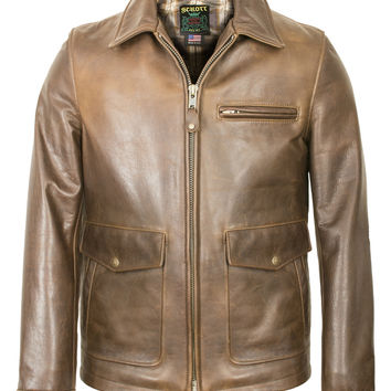 Waxy Natural Cowhide Delivery Jacket (Brown) 563
