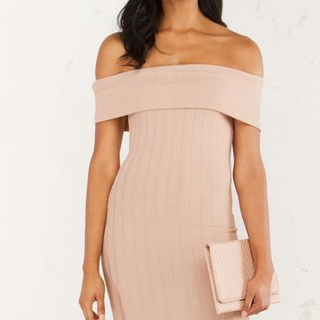 Ribbed Midi Dress in Nude and Lavender