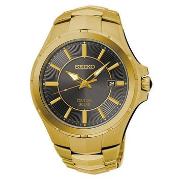 Seiko Mens Coutura Solar Date Watch - Gold-Tone - Dark Gray Dial - Bracelet