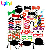 2015 New Graduation 46pcs/lot Photo Booth Props Glasses Mustache Lip Bow On A Stick Wedding Birthday Party Fun Favor Decoration
