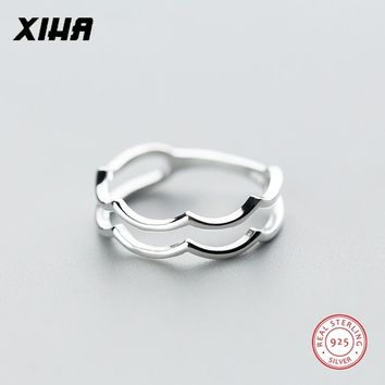 XIHA Midi Finger 925 Sterling Silver Rings for Women Simple Double Layer Ocean Wave Ring Fashion Jewelry Dropshipping