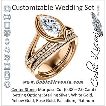 CZ Wedding Set, featuring The Reina engagement ring (Customizable Ridged-Bevel Surrounded Marquise Cut with 3-sided Split-Pavé Band)