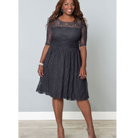 Plus Size Twilight Grey Luna Lace Dress