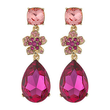 Oscar de la Renta Flower Drop Pave P Earrings