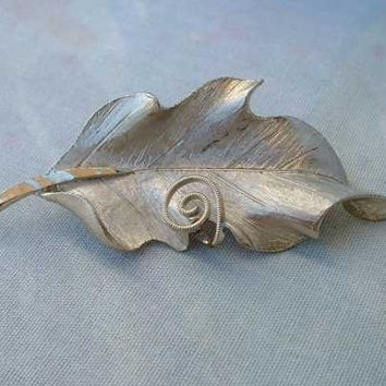 BSK Silvertone Leaf Brooch Pin with Spiral Vintage Jewelry