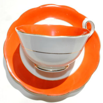 Orange Royal Albert China Teacup, 20s Royal Albert Tea Cup and Saucer Set, English Tea Set, Tea Party Cups