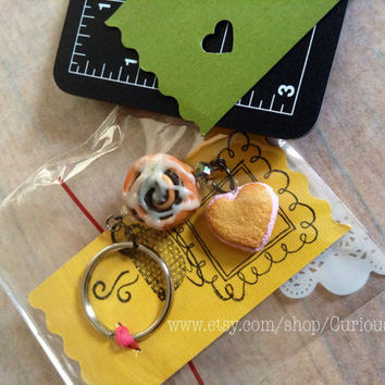 Polymer clay art key chain valentines gift cinnamon bread and pink icing hearth cookie