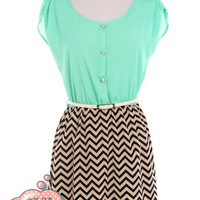 Turquoise Belted Chevron Bottom Dress