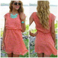 Petal Pop Coral Chiffon Floral Print Dress