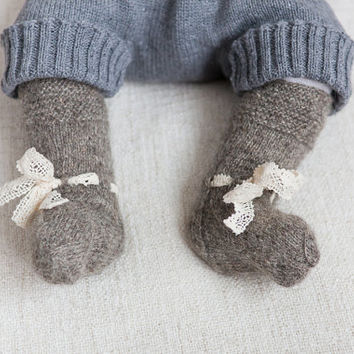 Baby socks Knit wool socks Baby Natural wool socks Hand knitted baby socks