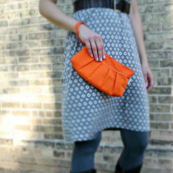 Orange Wristlet Clutch with Pleat Detail